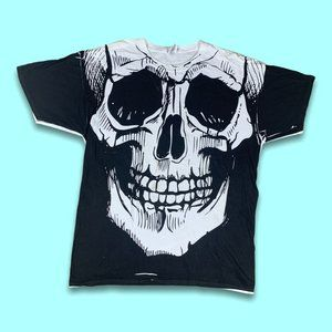 Skull 2000s All Over Graphic Tee